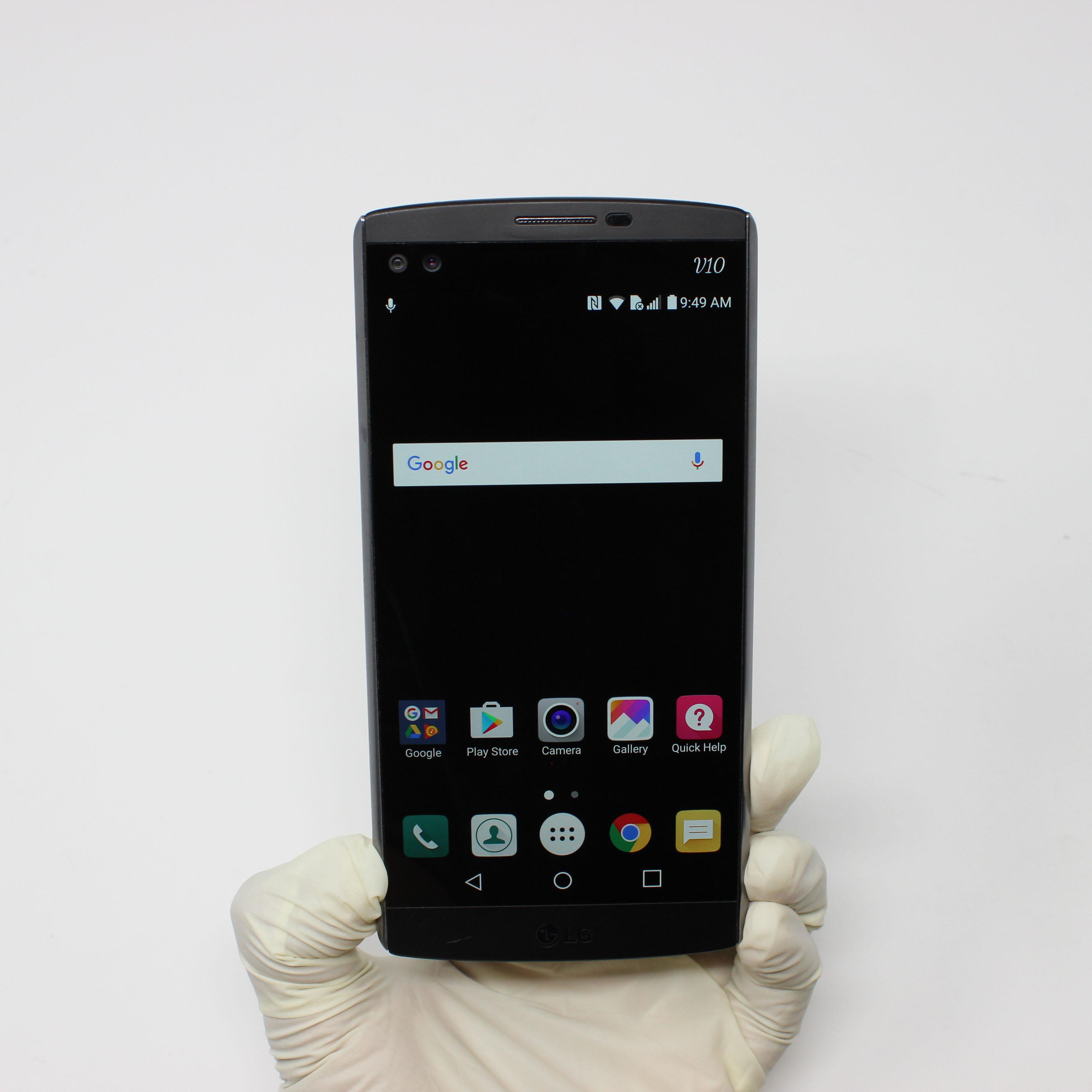 LG V10 32GB Space Black - T-Mobile front display on | UpTradeit.com