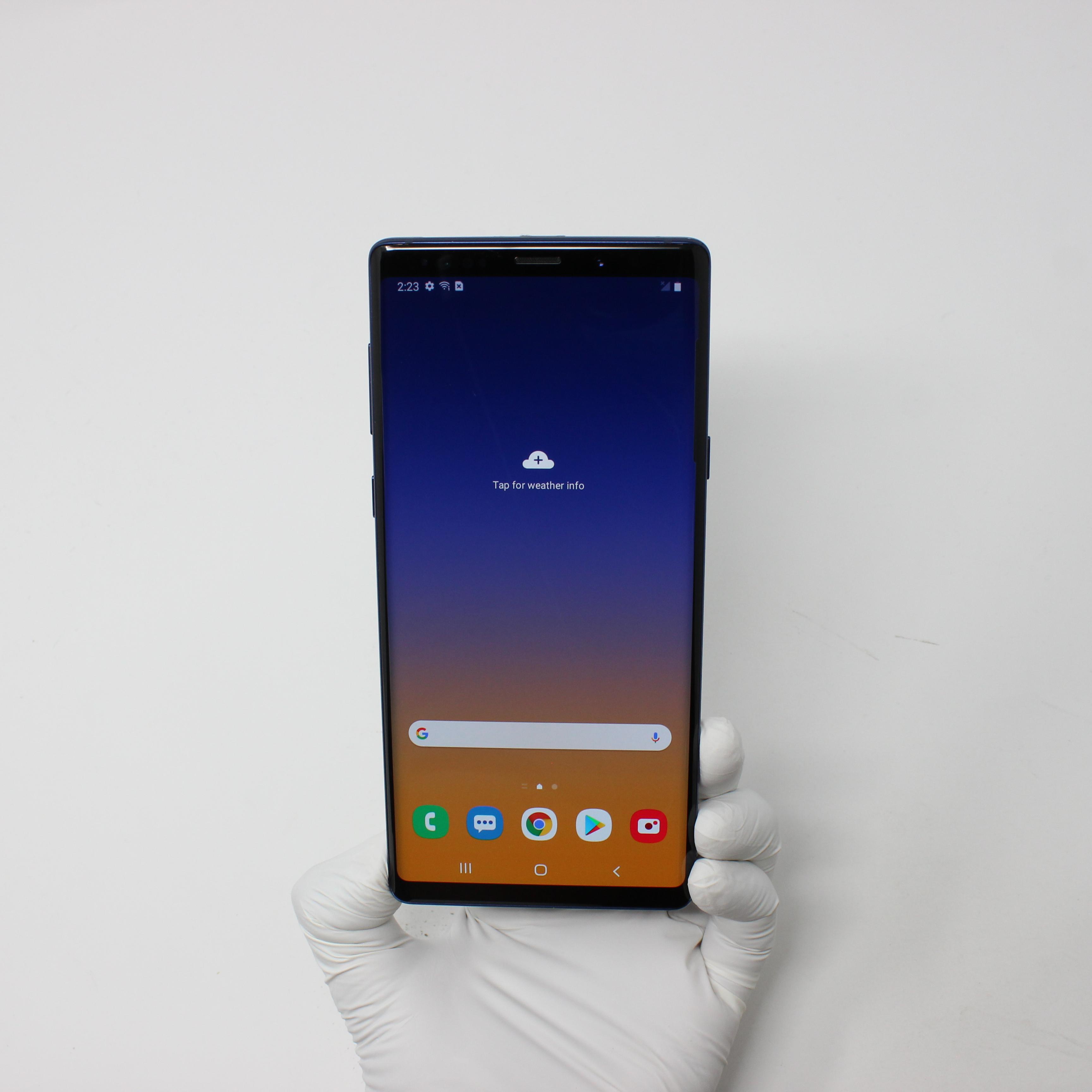 Galaxy Note 9 128GB Ocean Blue - Verizon front display on | UpTradeit.com