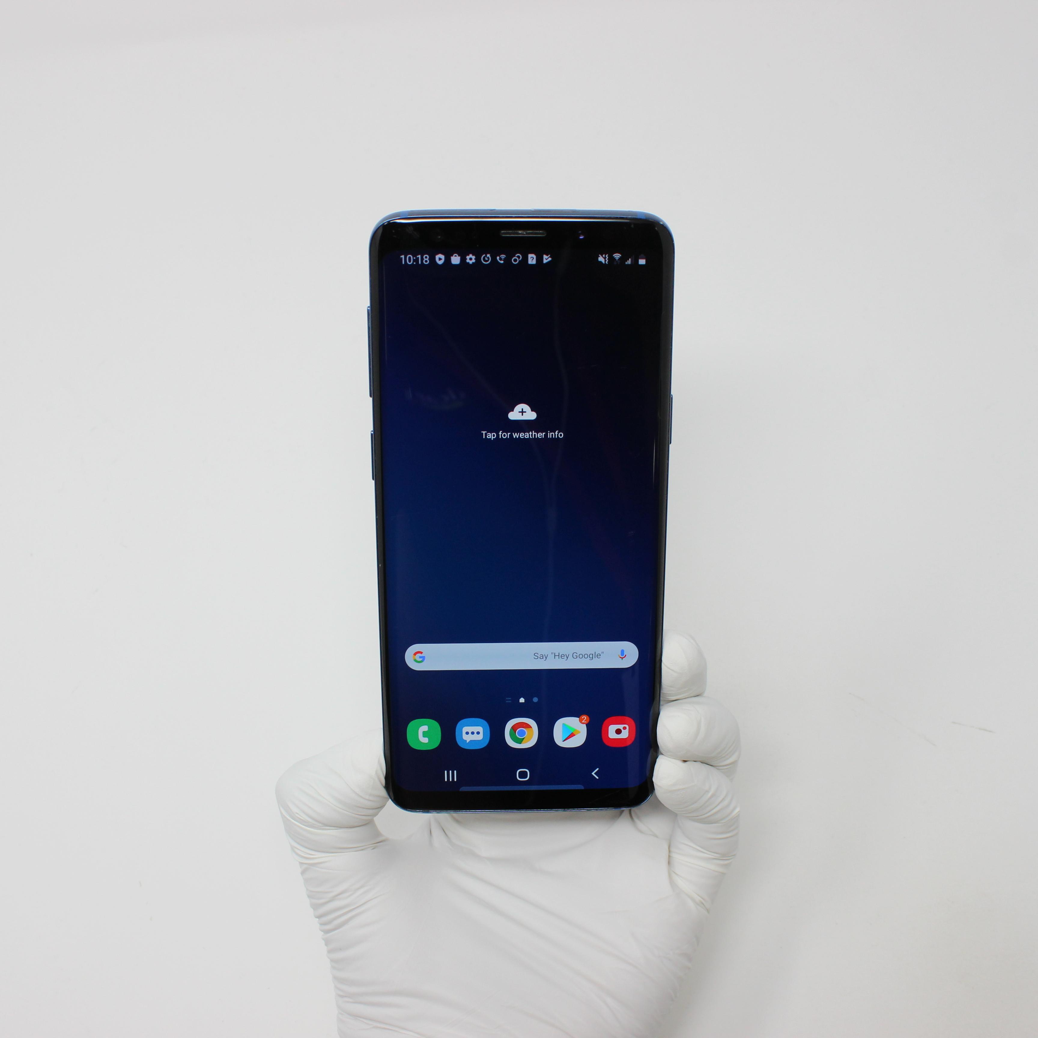 Galaxy S9 64GB Polaris Blue - Verizon front display on | UpTradeit.com