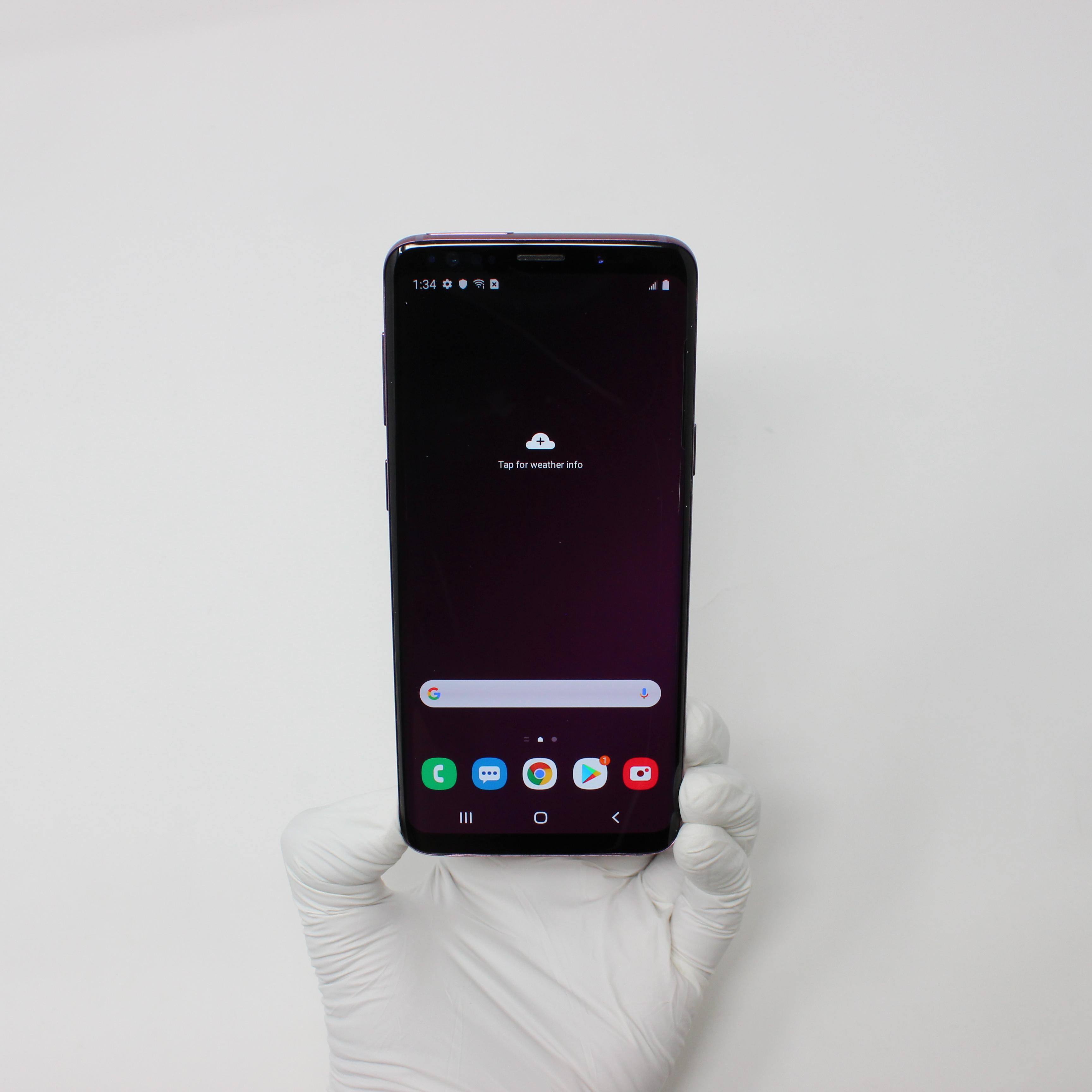 Galaxy S9 64GB Lilac Purple - Verizon front display on | UpTradeit.com