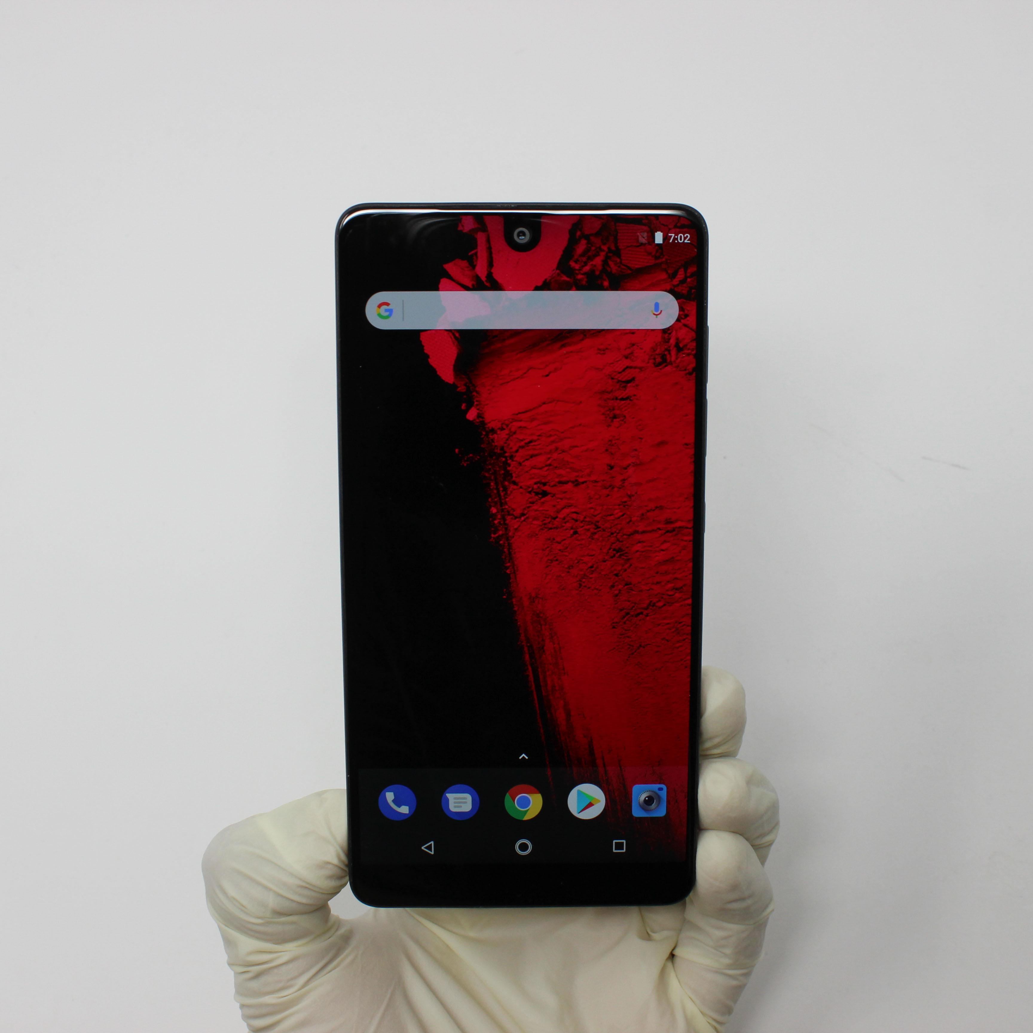 Essential PH-1 128GB Black Moon - Unlocked front display on | UpTradeit.com